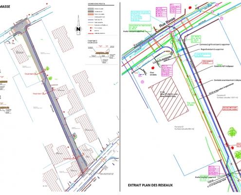 Plan de masse et plan de réseaux rue Tonelli à Helfrantzkirch
