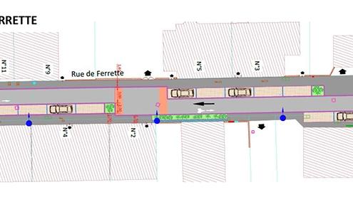 Plan de masse de la rue de Ferrette à Saint-Louis