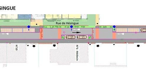 Plan de masse de la rue de Hésingue à Saint-Louis