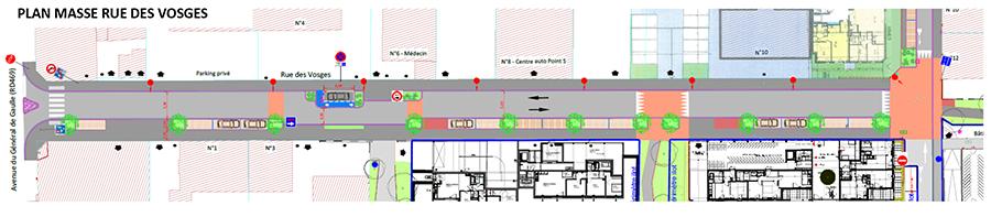 Plan de masse rue des Vosges à Saint-Louis
