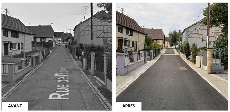Requalification de la rue de l'Ecole à Morschwiller-le-bas photos avant après