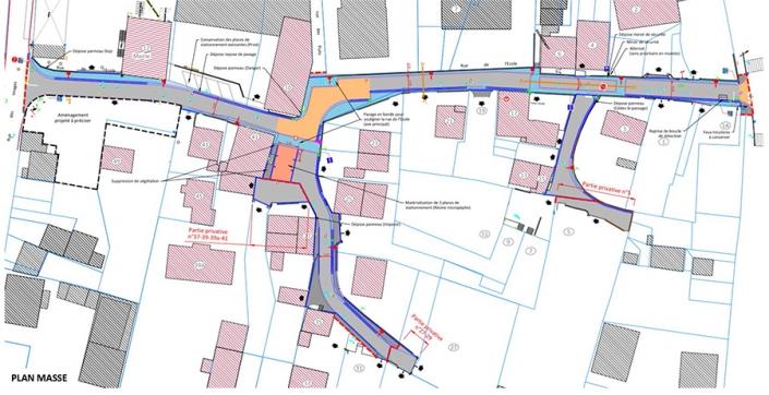 Plan de masse de la rue de l'Ecole à Morschwiller-le-Bas