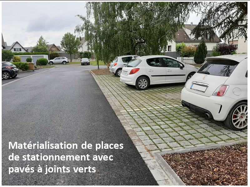 requalification de rues à Village Neuf, parking à joints verts