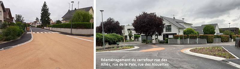 requalification de rues à Village-Neuf Carrefour rue des Alliés, rue de la Paix, rue des Allouettes