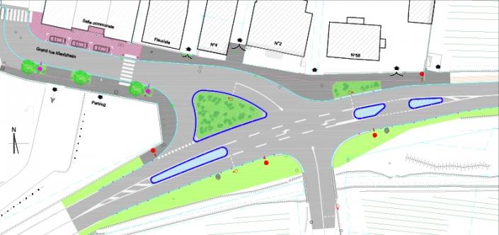 Plan masse aménagement de carrefour Kientzheim
