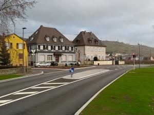 Aménagement de carrefour vue de l'entrée à Kientzheim