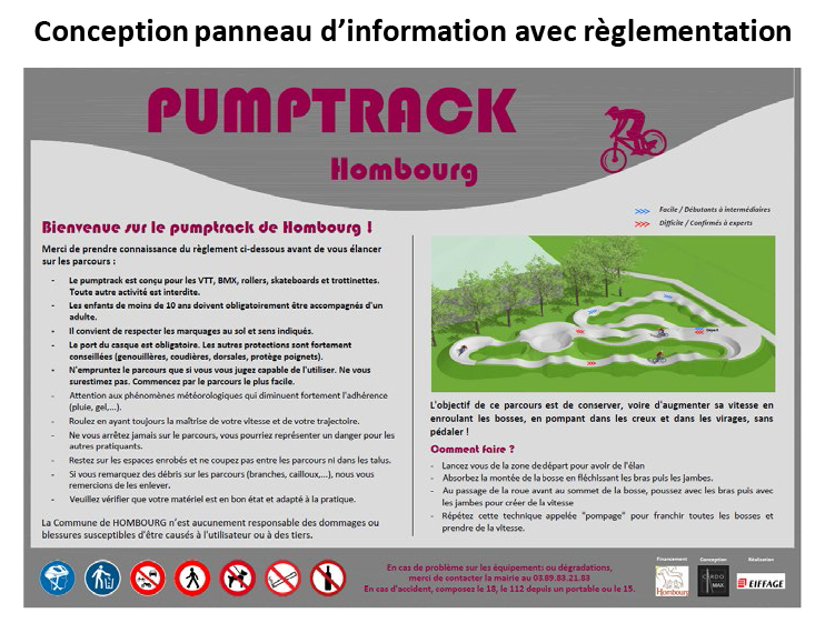 Conception et réalisation pumptrack Panneau d'information du pumptrack