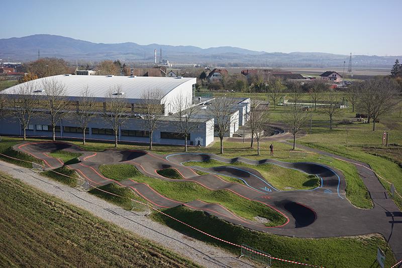 Conception et réalisation pumptrack à Hombourg, vue aérienne
